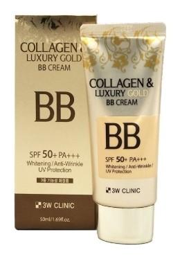 BB крем для лица отбеливающий с коллагеном и коллоидным золотом Collagen & Luxury Gold Bb Cream Whitening SPF50+  3W CLINIC