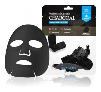 Маска для лица тканевая с древесным углем Fresh Charcoal  3W CLINIC