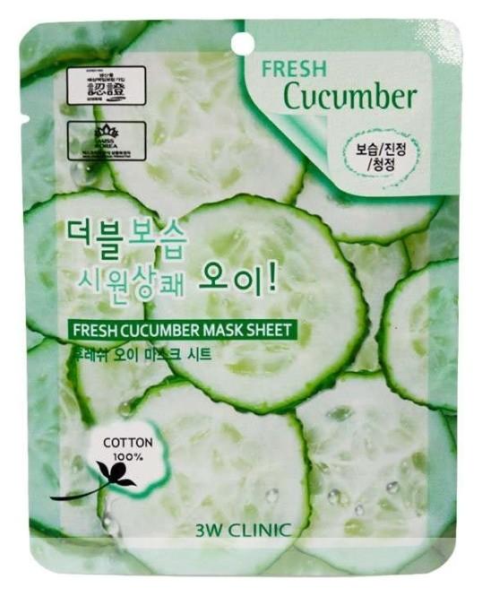 Маска для лица тканевая с экстрактом огурца Fresh Cucumber  3W CLINIC