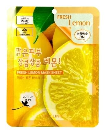 Маска для лица тканевая с экстрактом лимона Fresh Lemon  3W CLINIC