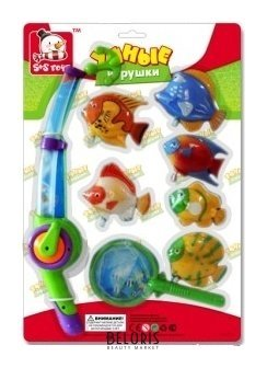 Игровой набор Рыбалка с магнитным спиннингом, сачком и заводными рыбками, 8 предметов S+S toys Умные игрушки
