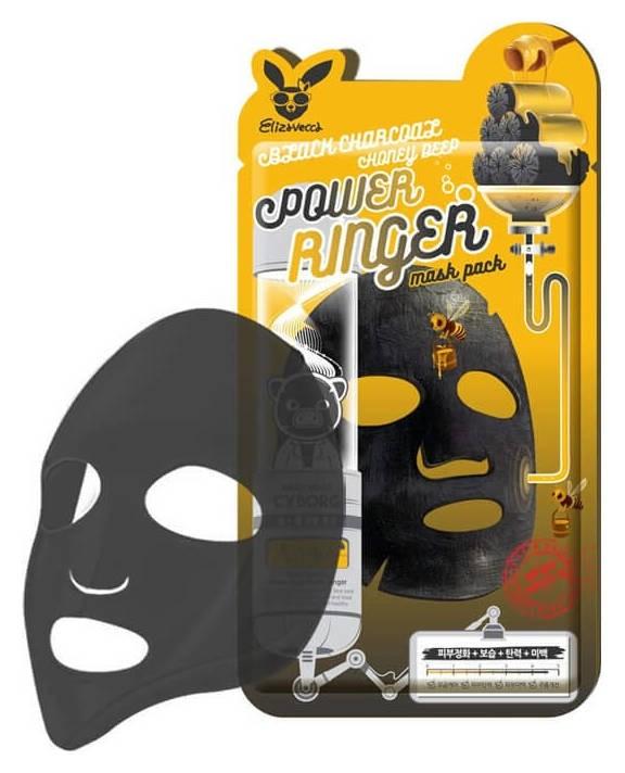 Маска тканевая с древесным углем и медом Mask Pack Black Charcoal Honey Deep  Elizavecca