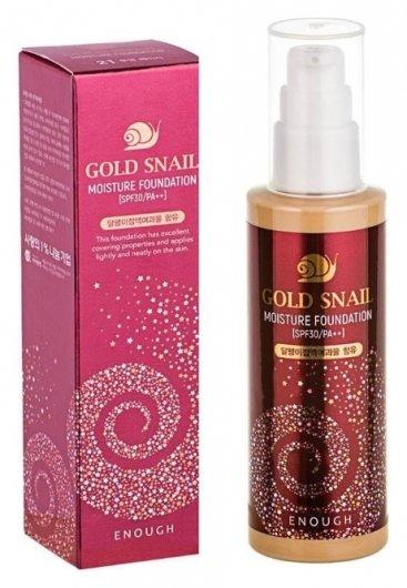 Омолаживающий тональный крем с муцином улитки антивозрастной Gold Snail Moisture Foundation SPF30  Enough (Инаф)