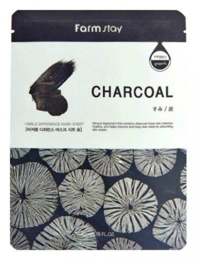Очищающая тканевая маска для ухода за кожей лица с древесным углём  FarmStay