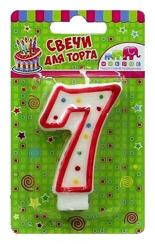 """Свеча для торта """"7""""  Микрос"""
