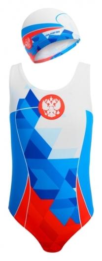 Комплект для плавания детский купальник и шапочка Russia  Onlitop