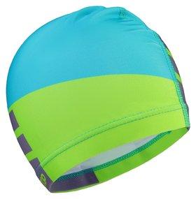 Шапочка для плавания взрослая цвет голубой/салатовый
