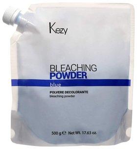 Порошок для волос обесцвечивающий голубой в пакете Bleaching powder blue Kezy