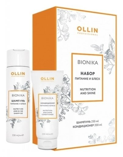 Набор для волос шампунь + кондиционер Питание и блеск  OLLIN Professional
