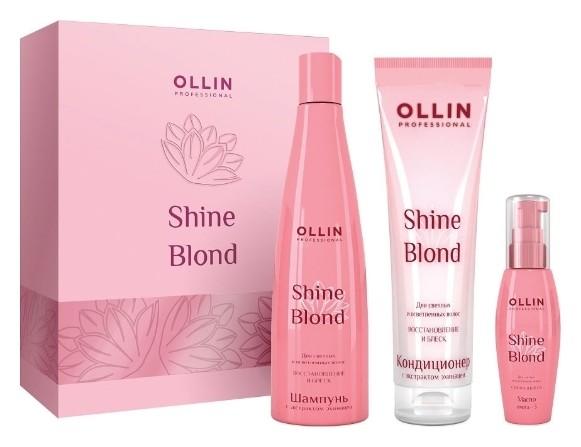 Набор для светлых и блондированных волос шампунь + кондиционер + масло  OLLIN Professional