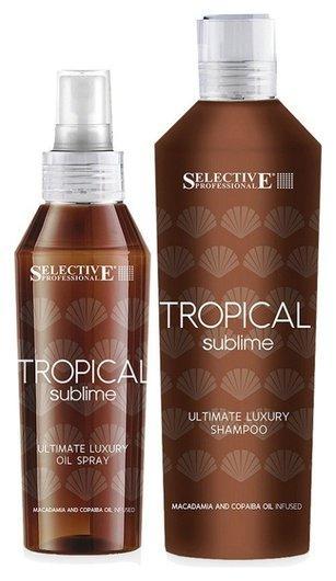 Набор для волос шампунь-гель и защитное масло-спрей Tropical Sublime  Selective Professional