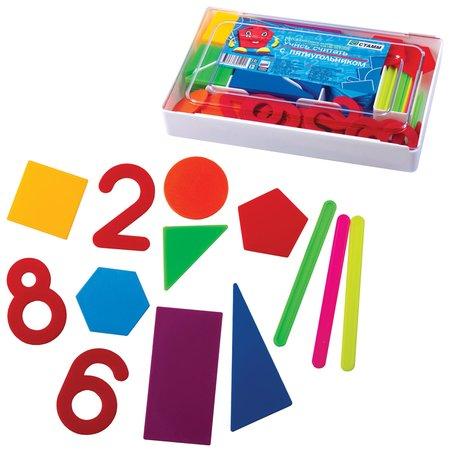 """Касса цифр и счетных материалов """"Учись считать"""" 142 элемента пенал  Стамм"""