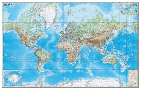 Карта настенная Мир Обзорная карта Физическая с границами Dmb