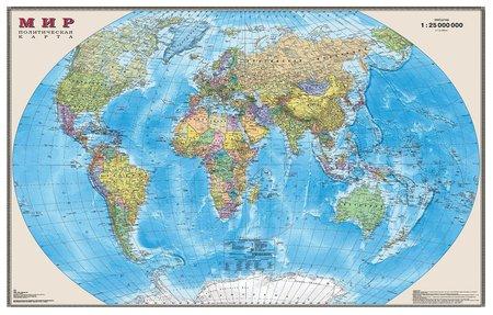 Карта настенная в тубусе Мир Политическая карта  Dmb