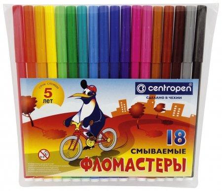 Фломастеры 18 цветов Пингвины  Centropen