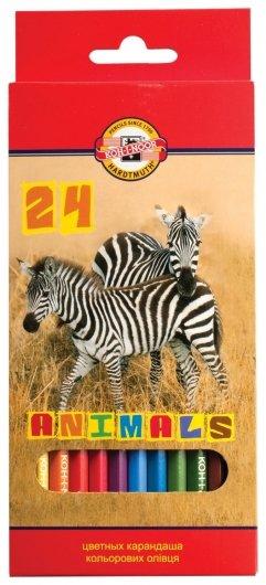 Карандаши цветные 24 цвета Animals  Koh-i-noor