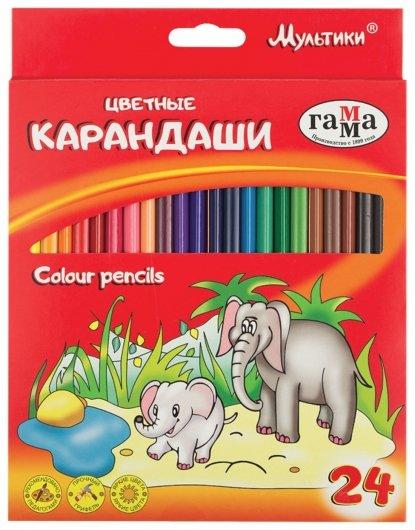 """Карандаши цветные 24 цвета """"Мультики""""  Гамма"""