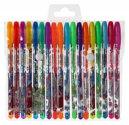 Набор гелевых ручек, 18 цветов, металлик, корпус с рисунком, в блистере на кнопке Calligrata