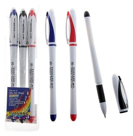 Набор гелевых ручек, 3 цвета, корпус белый с цветными вставками  КНР