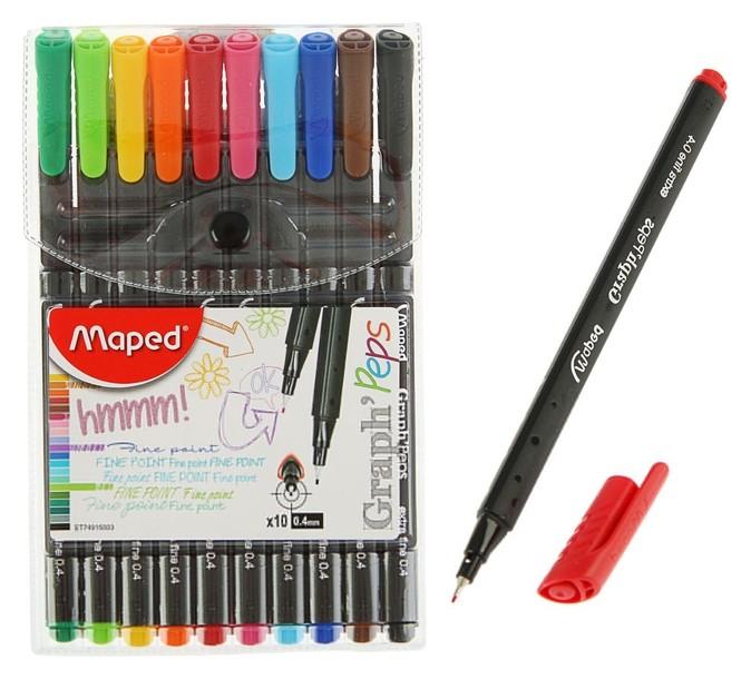 Набор ручек капиллярных, 10 цветов, Graph Pep's 0.4 мм, трехгранные, линия письма 0,4 мм  Maped
