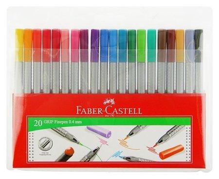 Набор ручек капиллярных 20 цветов GRIP 0.4 мм в пластиковом футляре 151620  Faber-castell