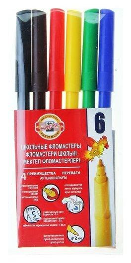 """Фломастеры трехгранные 6 цветов """"Звери""""  Koh-i-noor"""