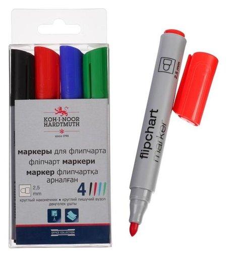 Набор маркеров для флипчарта 4цв 2,5 мм Koh-i-noor 1405/4, круглые  Koh-i-noor