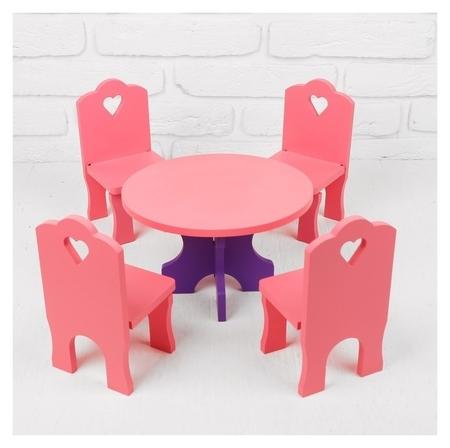 Мебель кукольная Столик со стульчиками, 5 деталей  Краснокамская игрушка