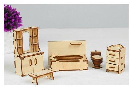 Набор мебели Ванная: (скамейка, ванна, унитаз, умывальник, шкаф  Polly