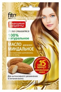 Миндальное масло для волос с экстрактами шиповника, алоэ и липы  Фитокосметик