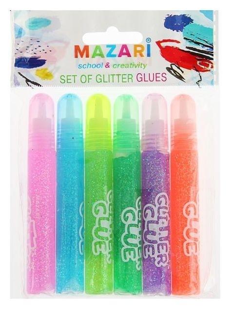 Гель с блёстками полупрозрачный 6 цветов  Mazari
