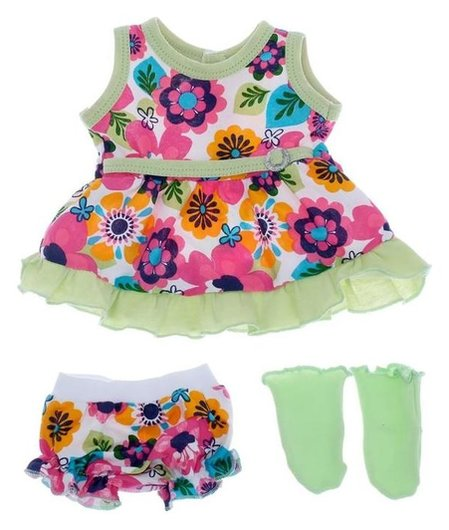Одежда для кукол 38-43 см: платье, трусики и носочки, микс  Colibri
