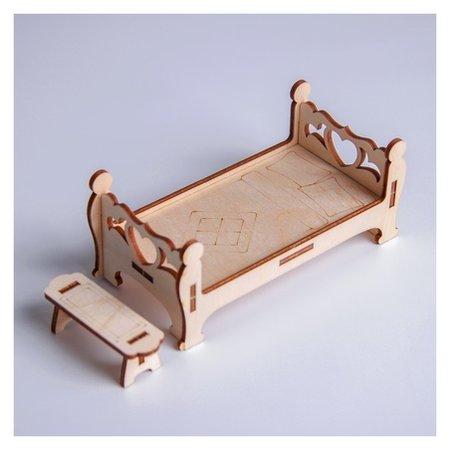 Кукольная мебель Кровать с лавочкой  Лесная мастерская