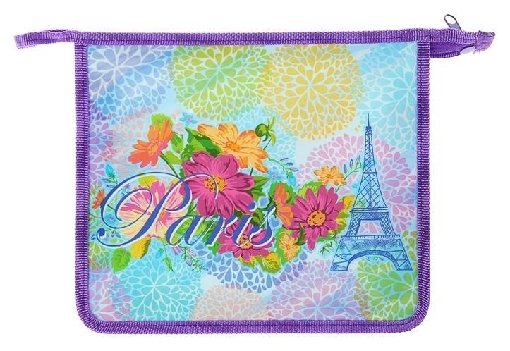 Папка для тетрадей А5 молния сверху, пластиковая, 3D, для девочки Цветы Парижа  Оникс
