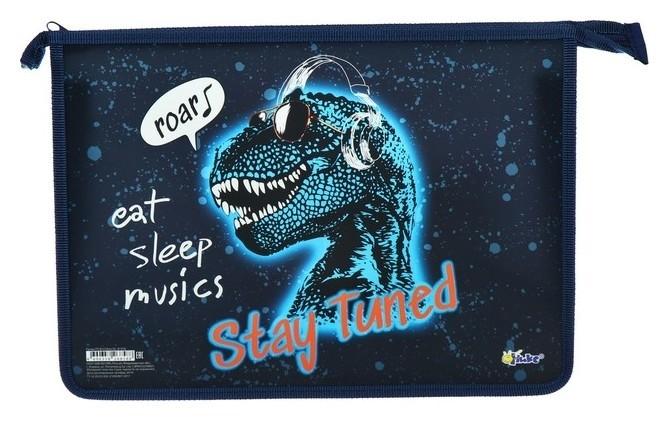 Папка для тетрадей А4, молния сверху, пластиковая Dino DJ  Оникс