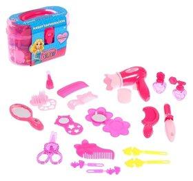 Набор парикмахера Модный образ, розовый, 19 предметов