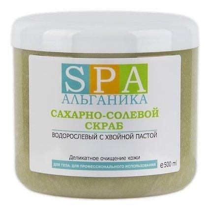 """Сахарно-солевой скраб """"Водорослевый с хвойной пастой""""  Альганика"""