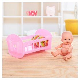 Пупс Малыш в кроватке с аксессуаром