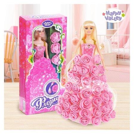 Кукла цветочная принцесса Флори с цветами и блестками  Happy Valley