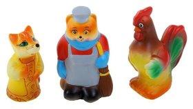"""Набор резиновых игрушек """"Кот, лиса и петух"""""""
