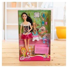 Кукла модель Молодая мама с ребёнком и аксессуарами