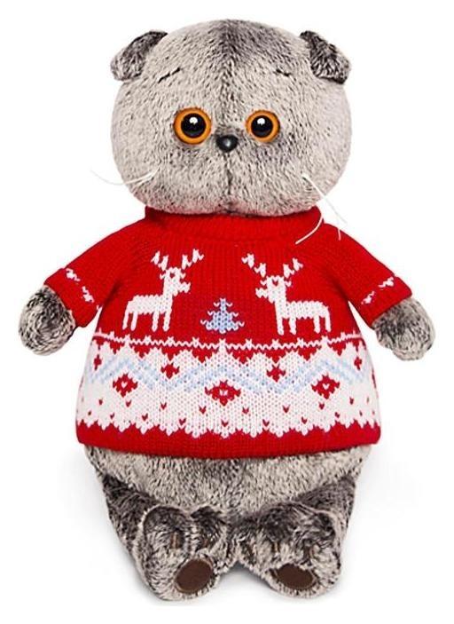 Мягкая игрушка Басик в свитере с оленями 25 см  Басик и Ко