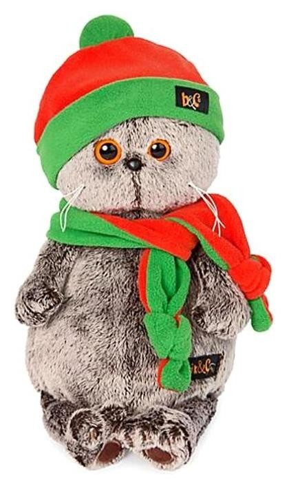 Мягкая игрушка Басик в оранжево-зелёной шапке и шарфике, 30 см  Басик и Ко