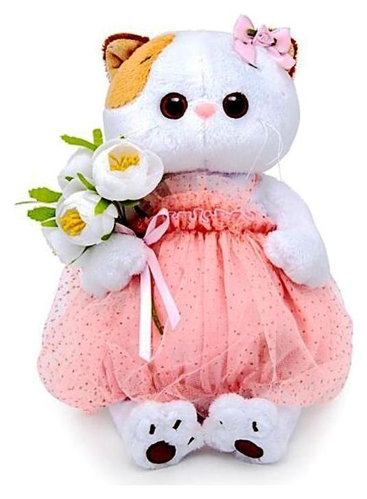 Мягкая игрушка Кошечка Ли-Ли с белым букетом, 27 см  Басик и Ко
