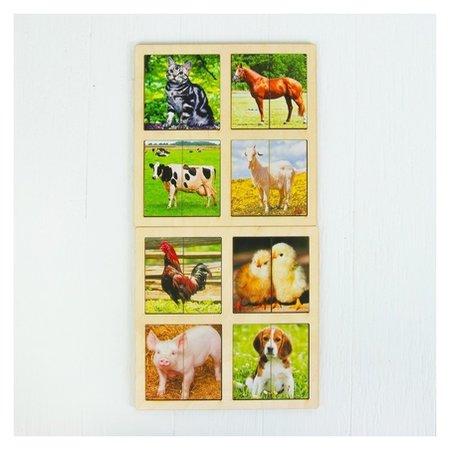 Картинки-половинки Домашние животные, 2 планшета  Smile Decor