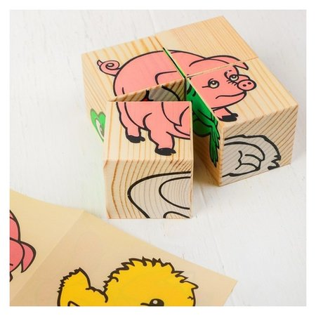 Кубики «Животные» 4 элемента  Томик