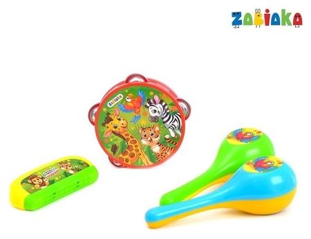 """Набор музыкальных инструментов """"Весёлый зоопарк"""": бубен, 2 маракаса, губная гармошка  Zabiaka"""
