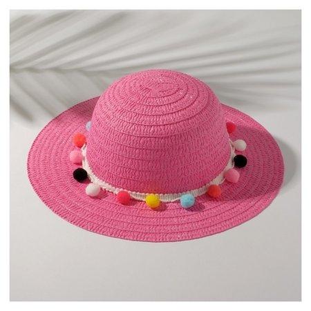 Шляпа с бомбошками для девочки, размер 50, цвет розовый  Minaku