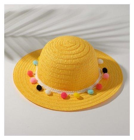 Шляпа с бомбошками для девочки, размер 50, цвет жёлтый  Minaku