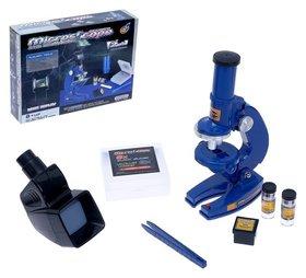 Микроскоп детский Юный исследователь 2 в 1 с подсветкой сменным дисплеем и аксессуарами